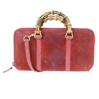 Auth GUCCI Bamboo Long Zipper Wallet Shoulder Hand Bag Suede Leather Red 09AC134