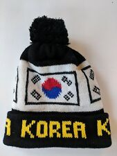 80's Vintage Korea Flag Black Knit Warm Winter Pom Hat