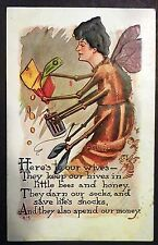H.H. TAMMEN EMBOSED POSTCARD HONEY BEE WIFE 1909
