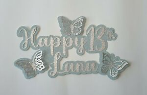 Glitter 3D butterfly cake topper- Personalised with name & age - many colours