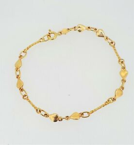 "18ct (750) Yellow Gold Heart Link Bracelet - 7""/18cm"