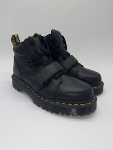 New Dr. Martens ZUMA II Black Leather Strap Boots Shoes Size US 8