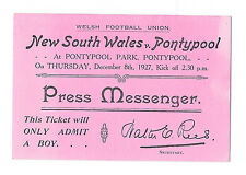 1927 - Pontypool v New South Wales, 'Press Messenger' Match Ticket.