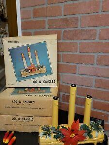 3 Vntg Christmas Lights Poinsettia Log Candles Electrified By Union Original Box