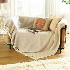 Cream Beige Herringbone 100% Cotton Throw Blanket Sofa Couch Seater, 127x152cm