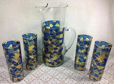 Vintage Mosaic Stained Glass Cocktail Pitcher and 4 Glasses