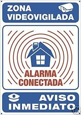 Cartel Disuasorio Alarma Conectada Policia Exterior Aluminio Tamaño 30 x 21 cm