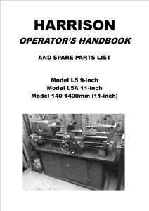 HARRISON L5, L5A, 140 LATHE MANUAL & PARTS LISTS - 79 PAGES IN PDF FORMAT