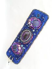 Shibori Silk Ribbon Night Garden Cuff Bracelet, Bead Embroidery