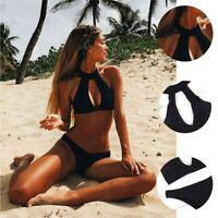 Womens Sexy Bikini Set Swimwear Push Up Padded Bra Hollow Ladies Blak Swimsuit