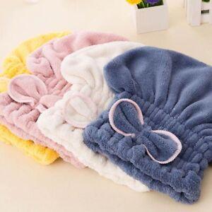 Bath Hat Towel Microfiber Hair Turban Dry Wrap Drying Head Quickly Shower Caps