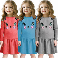 Kids Baby Girls Cat Animal Printed Long Sleeve Lovely Party Casual Dress 2-7Y US