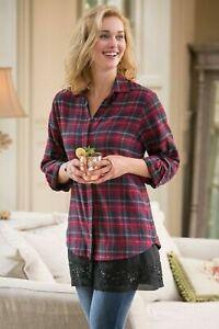 Soft Surroundings Small/Medium long Sleeve flannel Apres-ski Shirt, beaded hem''