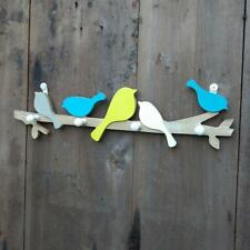 Creative Wooden Bird Home Decor Coat Hat Rack Wall Hook Hangers Crafts 4 Hooks