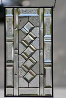 """Classic Twist Clear Beveled Stained Glass Panel 21 1/2""""x 11 1/2"""""""