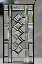 "Classic Twist Clear Beveled Stained Glass Panel 21 1/2""x 11 1/2"""