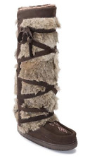 Manitobah Mukluks Rabbit Fur Tall Wrap Boot Brown Chocolate Suede Beaded 8 NEW
