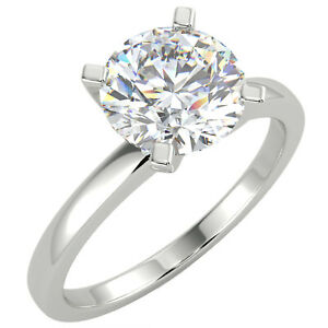 1.57 Ct Round Cut VS1/G Solitaire Diamond Engagement Ring 14K White Gold