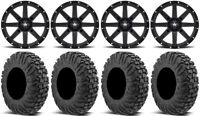 "MSA Black Clutch 16"" UTV Wheels 30"" MotoVator Tires Polaris RZR XP 1000 / PRO XP"