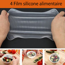 Film alimentaire silicone 4 tailles emballage couvercle étirable lavable moule
