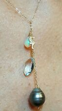 14k gold seahorse Tahitian pearl blue Topaz pendant charm necklace