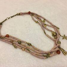 Agate & Carnelian Bead Tribal Look Vintage 25� Multi Strand Necklace Dyed bone,