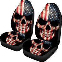 Universal Car Seat Covers Funky Flag Skull Design Front Seat 2 Pack Full Cover