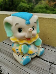 "VTG RARE CIRCUS CLOWN ELEPHANT RUBBER SQUEAKY TOY 6"" SQUEEZE TOY MEXICO"