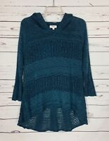 Umgee Boutique Women's Size S Small Blue Cute Fall Knit Sweater Tunic with Hood