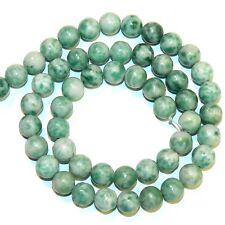 "GR199fb Green & White Ching Hai Jade 8mm Round Dolomite Gemstone Beads 16"""