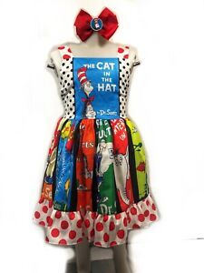 Dr Seuss dress The Cat In The Hat Dress and Bow! FREE SHIPPING!