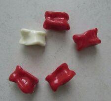 Jeu d'osselets en plastique sans marque 2,5 x 1,5 cm 4 osselets rouges & 1 blanc