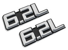 "2010-2014 Ford F-150 Raptor 4"" Black & Chrome 6.2L Fender Trunk Emblems Pair"