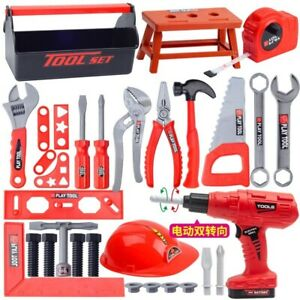 Kids Simulation Repair Tool Toys Pretend Play Toolbox Kit Electric Drill Screw