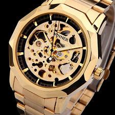 Luxury WINNER Men Skeleton Gold Stainless Steel Automatic Mechanical Sport Watch