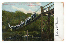 Lasalle Co. Starved Rock Throng Of People On Suspension Bridge Postcard 1907
