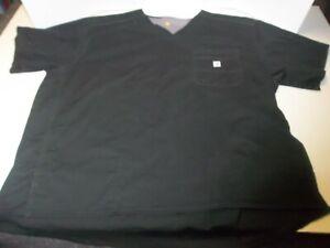 Mens Size 3X Carhartt Black Slim Fit 6 Pocket Scrub Top