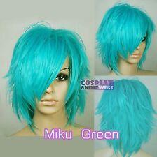 30cm Miku Green Heat Styleable Shaggy cut Cosplay Wigs 72_MGG