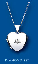 "Unique Wishlist Sterling Silver Diamond Set Heart Locket & 16-18"" Chain BT1381"