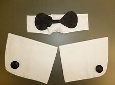 Black and White Bow Tie and Cuffs Set - Fancy Dress Accessories (HW219)