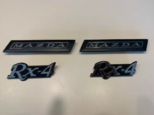 MAZDA RX-4, 4 Piece Badge Set, Chrome, Brand New, for Rotary Rotor 12A 13B 10A
