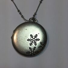 Snowflake Locket Necklace by j jill ~ muted silver locket with Snowflakes