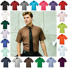 Mens Short Sleeve Shirt Business Work Smart Formal Casual Dress Shirt 24 Colours