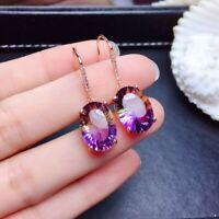 Fashion 925 Silver Amethyst Earrings Purple Gems Women Jewelry Ear Dangle Drop