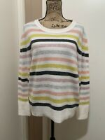 Loft Sweater Knit Multicolor Striped Design Size XL New With Tags