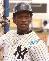 RICKEY HENDERSON SIGNED AUTOGRAPHED 8x10 PHOTO NEW YORK YANKEES RARE BECKETT BAS