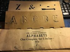 "VINTAGE 1 1/2""  OIL CURED A-Z LETTERS & NUMERALS STENCILS HUNTINGTON STENCIL CO"
