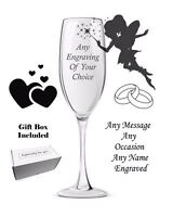 Personalised Engraved Champagne Flute Birthday Gift Anniversary Wedding