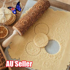 Flower Rolling Pin Wooden Laser Cut Unique Design Cookies Embossed Useful BO