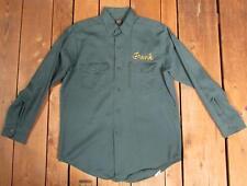 VINTAGE 1960s LEE chetopa Sarga VERDE OSCURO Camisa De Trabajo sz.m 'Frank' Ropa